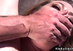 Hogtied blonde gets ass electro shocked