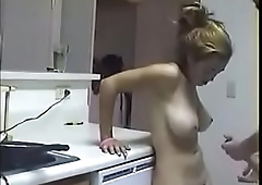 Real Brother Fucks Sister On Kitchen Table With SpyCam