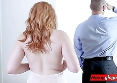 Beautiful redhead receives a long time wanted kinky gift